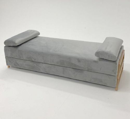Double Dream Day Bed Sofa Contemporary Velvet Settee In Mid Grey